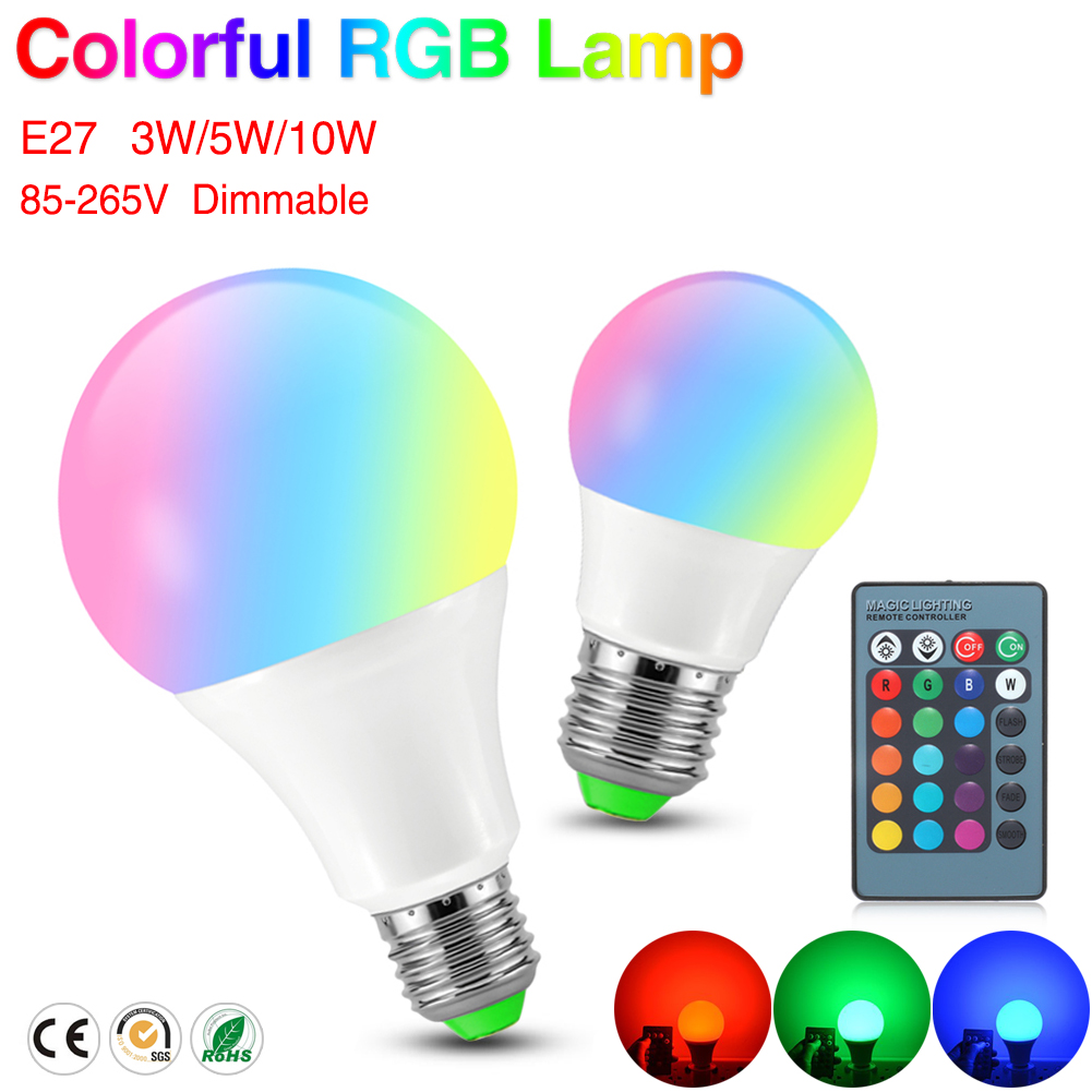 Cheap E27 RGB LED Lamp 3W 5W 10W 110V 220V LED RGB Bulb Light Lamp IR Remote Control 16 Color Change Holiday Party Decor Lampada e27 3w rgb 16 color changing led crystal light bulb lamp