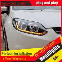 Auto Clud Headlights For Ford Focus 2012 2014 Q5 Bi Xenon Lens LED Light Guide DRL