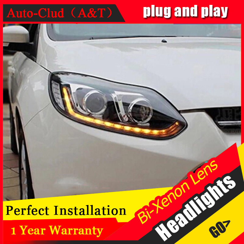 Auto Clud headlights For ford focus 2012 2014 bi xenon lens+LED light guide DRL+H7 HID Kit car styling LED headlamps For focu