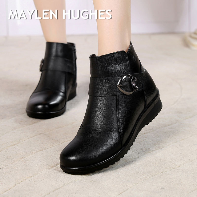 Big Size 35-41 Women Winter Leather Ankle Warm Boots Anti slip shoes
