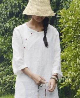 В китайском стиле ретро имитация нефрита пряжкой хит цвет с длинным рукавом sectioncardigan рубашки 18059 - Цвет: Белый