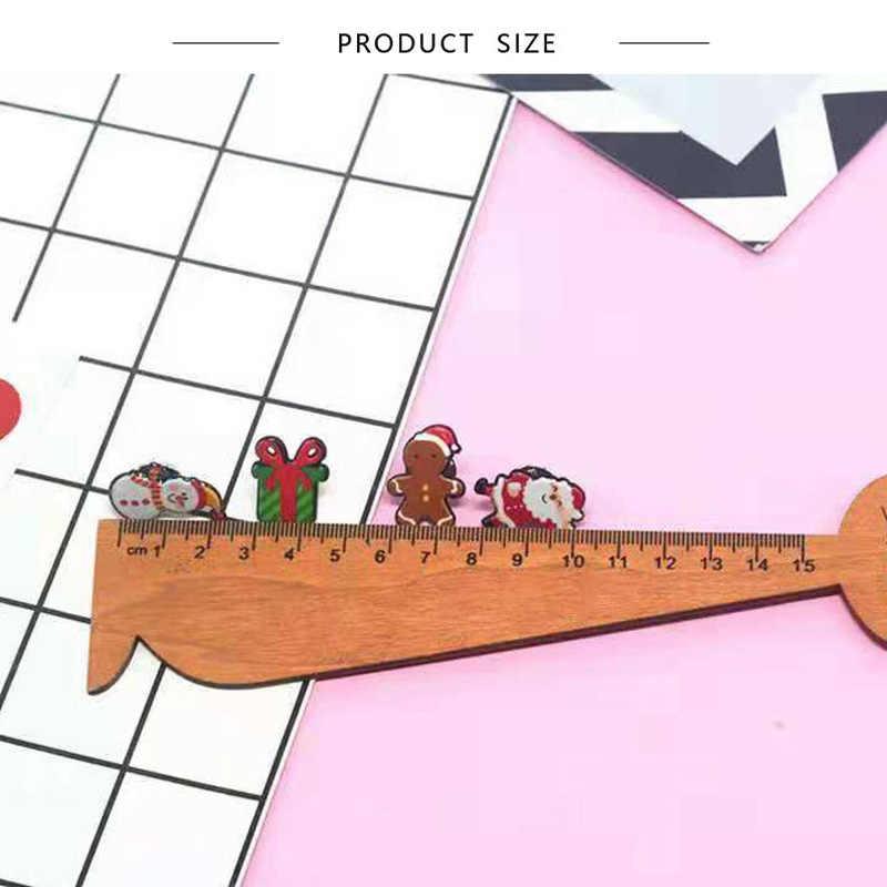 6 סגנון קריקטורה עץ חג המולד מגפי סנטה קלאוס סיכת חורף אמייל סיכות נשים מעילי דש תגי סיכת ילדים תכשיטי מתנות