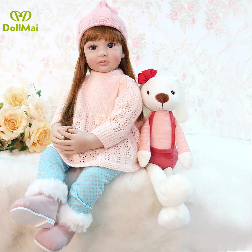 60cm Silicone Reborn Girl Baby Doll Toys Vinyl newborn Pink Princess Toddler modeling doll Birthday Gift Limited Edition Doll