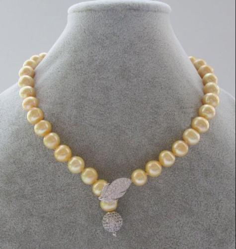 LATEST HOT 10-11MM SOUTH SEA YELLOW NATURAL PEARL NECKLACE 18 INCH WHITE CLASP >>> women jewerly Free shipping 10 11mm real south sea pink pearl necklace 18 inch selling jewerly free shipping