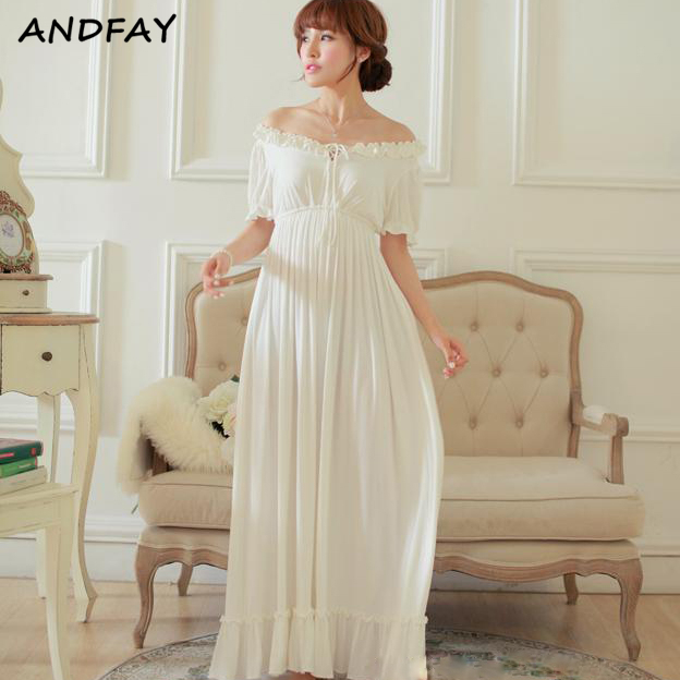 2015 Summer New Free Shipping 100% Modal Nightdress Women\'s White ...
