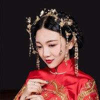 Chinese Noiva Cocar Traje Borla Feng Guan Casamento Show de Wo Jóias Phoenix Hoop Cabelo Coroa de Casamento Da Marca Original SL