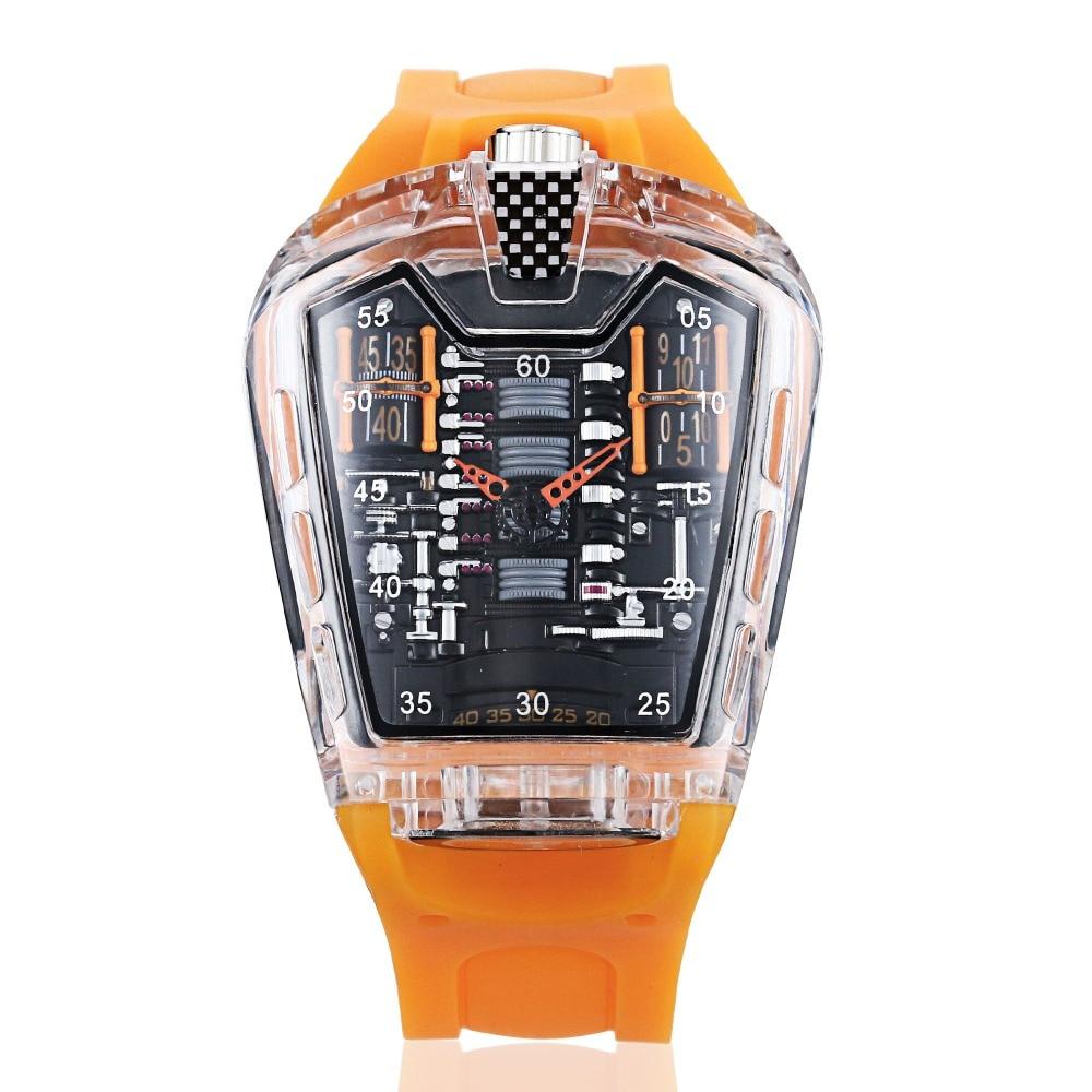 KIMSDUN new hot Men's Fashion Trend Personality Classic Quartz Watch Luxury Racing Free Silicone Strap Clock Transparent Relogio Quartz Watches     - title=