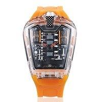 KIMSDUN new hot Men's Fashion Trend Personality Classic Quartz Watch Luxury Racing Free Silicone Strap Clock Transparent Relogio
