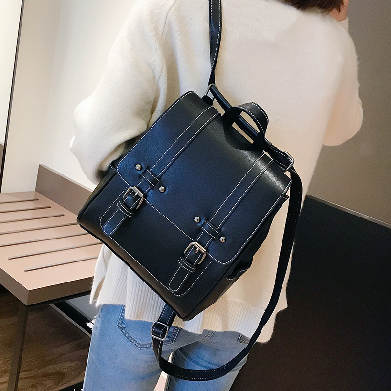 Image 4 - New Vintage Women Backpack High Quality Leather School Bags for Girls Lady Simple Style Backpack Fashion Leisure Pu Shoulder BagBackpacks   -