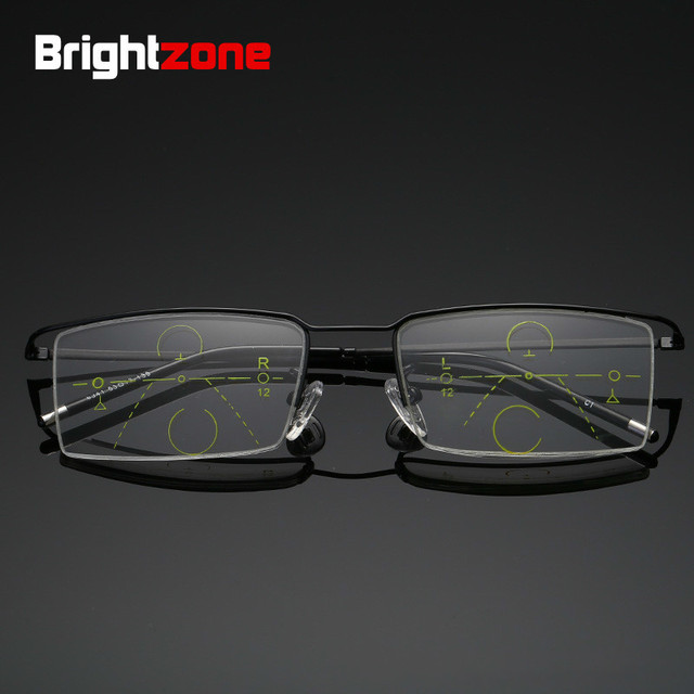 Brightzone Half Frame Reading Multifocal Glasses Men Progressive Magnifier Diopter Presbyopic Elderly Goggles Spectacles Lectura