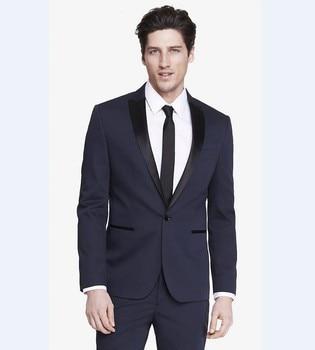 New Arrival Groomsmen Peak Black Lapel Groom Tuxedos Navy Blue Men Suits Wedding Best Man (Jacket+Pants+Tie)