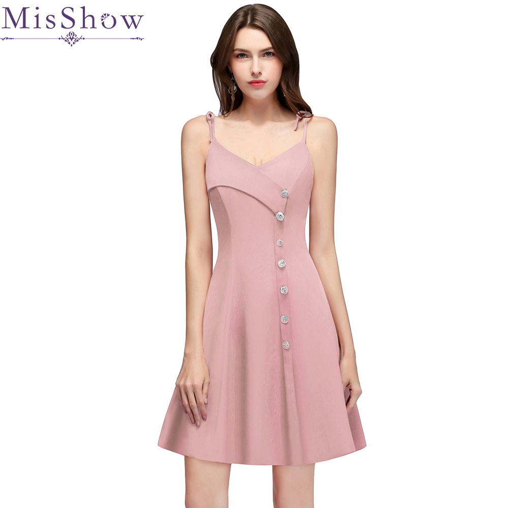 Cocktail Dresses A-Line Satin Elegant Summer Women 2019 Short Vestidos Sleeveless Dusty Pink Sexy Women Party Cocktail Dress