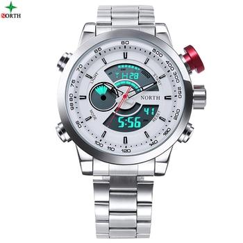 NORTH Watch Men Luxury Brand Sport LED Digital Watch Stainless Steel Waterproof Quartz Wristwatch  1