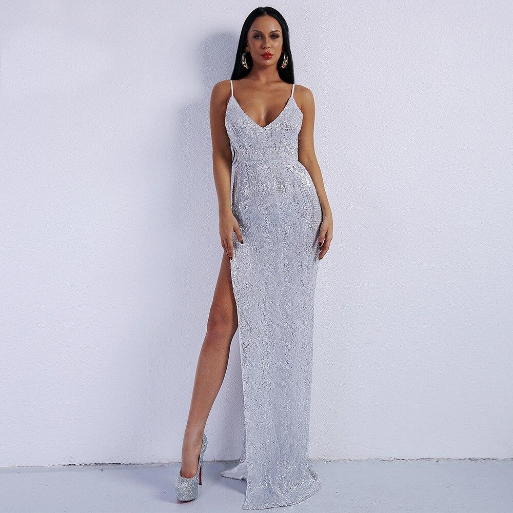 Sangle de qualité supérieure longue robe élégante Sexy moulante célébrité Ngiht Club Backlsee haute fente mode robes de soirée