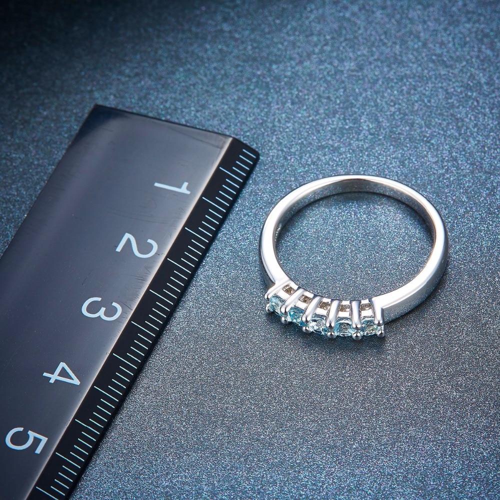 Hutang Bryllup Ringe Fem Sten Naturlig Aquamarine Solid 925 Sterling - Smykker - Foto 5
