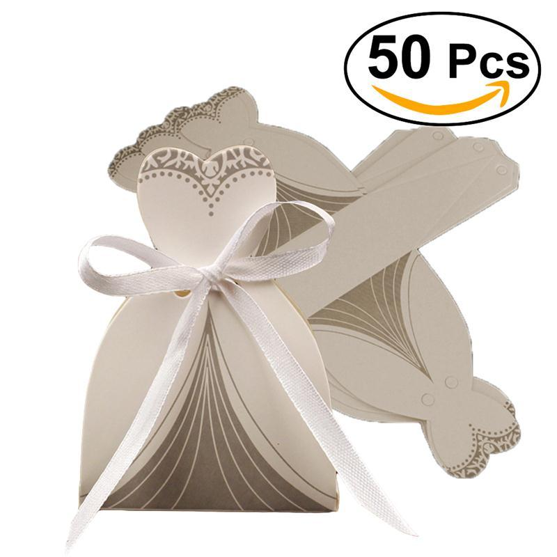 50pcs Groom Tuxedo Bridal Dress Candy Boxes Gift Candy Boxes ...