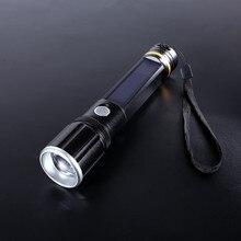 Solar Power/USB Rechargeable LED Flashlight Camping Hiking Light Lantern Flashlight torch Night Hiking Lighting For Bicycle clip
