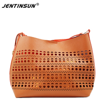 2016 Limited New Arrival Hollow Out Polyester Brand Women Bag Hollow Out Ombre Handbag Shoulder Bags Ladies Pu Leather Tote