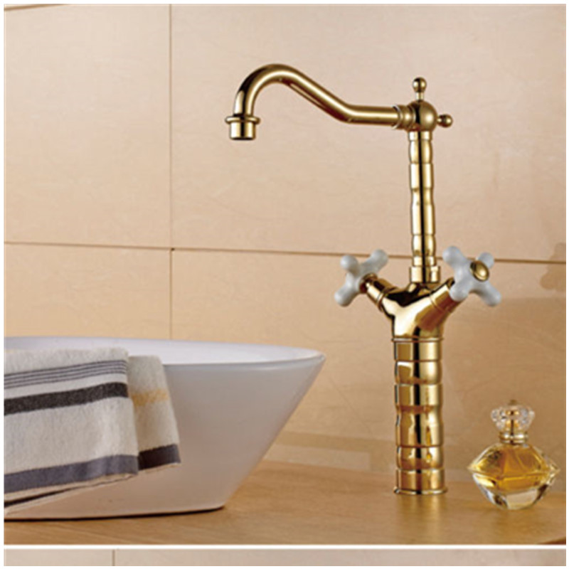 High Quality Kitchen Water Tap Antique Gold Brass Swivel Spout Dual Handles Kitchen Sink Faucet Mixer Tap Nozzle Cocina gold color brass dual handles kitchen sink mixer tap bathroom basin mixer tap swivel spout wsf094