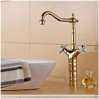 Homedec высокое качество Кухня водопроводной воды Античное золото латунь поворотным изливом Двойной Ручки Кухня Раковина кран смесителя сопл