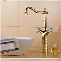 Homedec High Quality Kitchen Water Tap Antique Gold Brass Swivel Spout Dual Handles Kitchen Sink Faucet Mixer Tap Nozzle Cocina