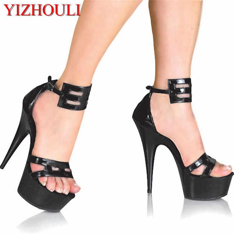 Sapatos mulher Plus: 35-46 verão novas senhoras 5 centímetros plataformas Sandálias Ornamentação 15 centímetros finas sexy de salto alto Sapatos de Dança de casamento