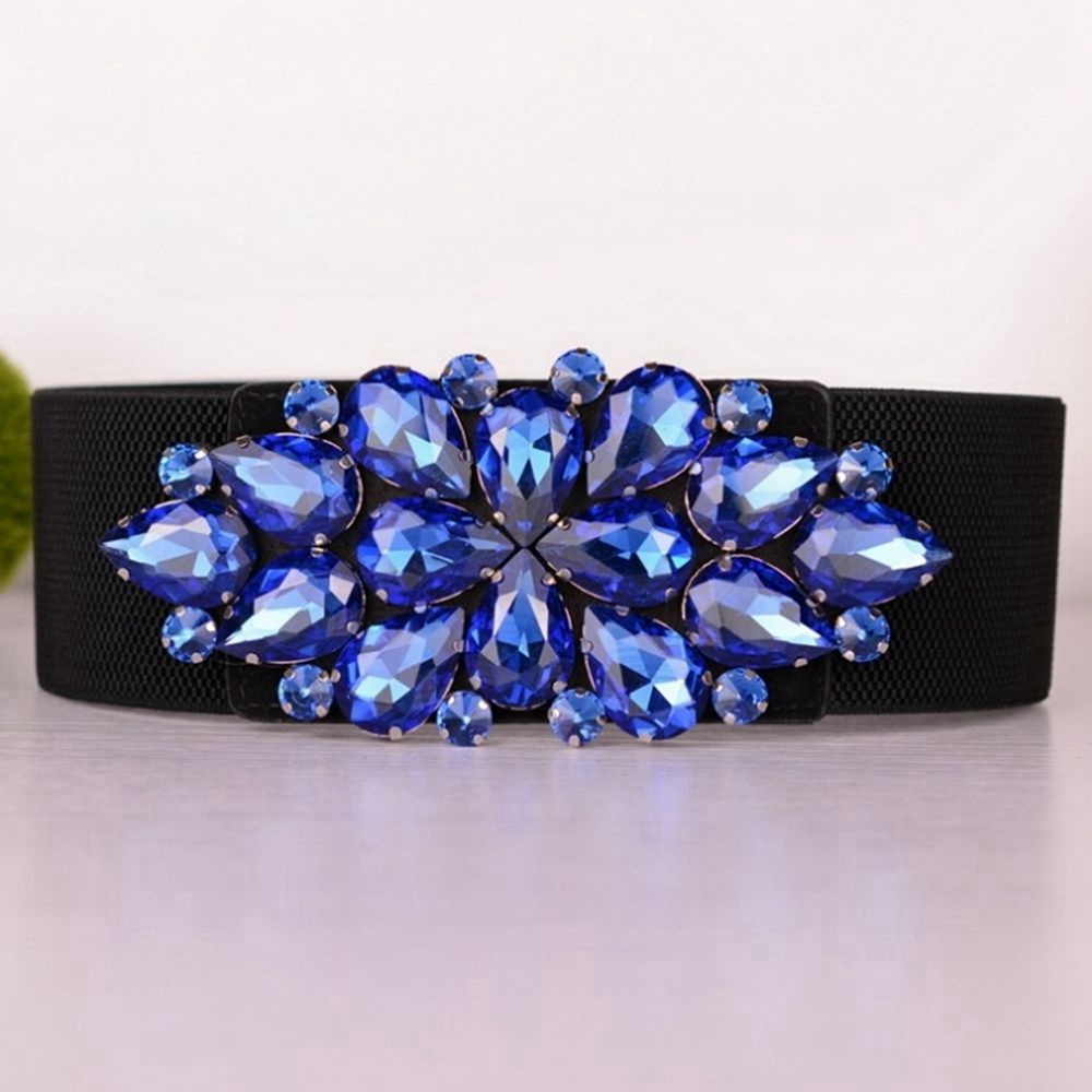 Fashion Women's Elastic Waist Belt Crystal Flower Buckle Corset Belts for Ladies Wide Strap Cinch Waistband Accessories