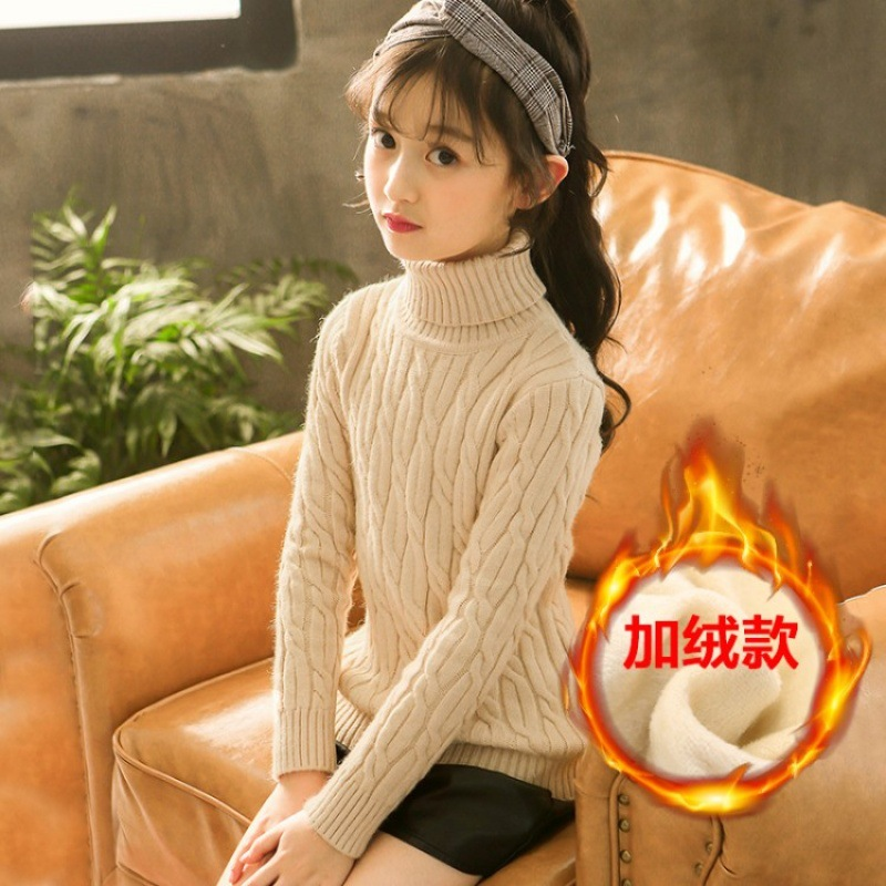 Turtleneck Sweater For Girls Teenager Kids Ribbed Sweater 2018 Toddler Girl Winter Velvet Warm Christmas Sweater 9 10 Kerst Trui high neck fringed ribbed plus size sweater