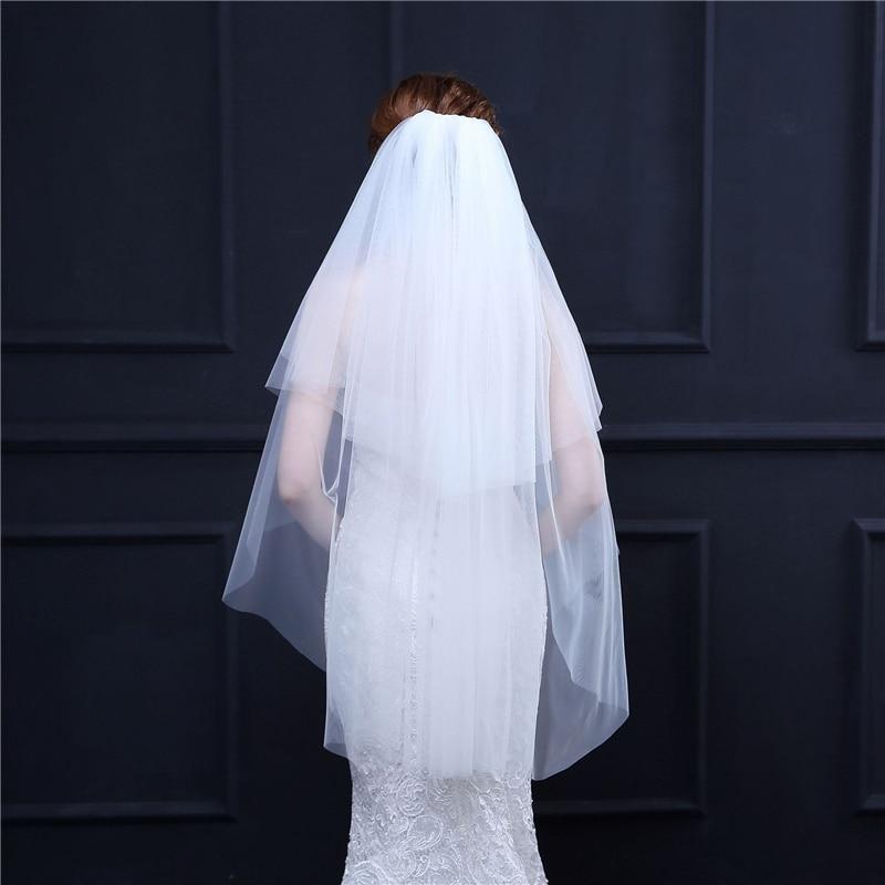 Romantic White Ribbon Edges Wedding Veil Two Layer Bridal Veils Soft Bridal Illusion Veils For Women Bridal Hair Accessories C40