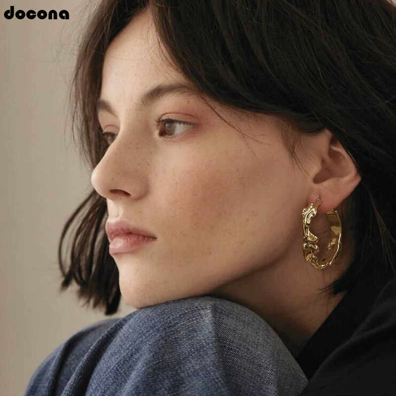docona Exaggerate Gold Silver Color Geometric Drop Earrings for Women Girl Abstract Round Pendant Earring Pendientes 2830