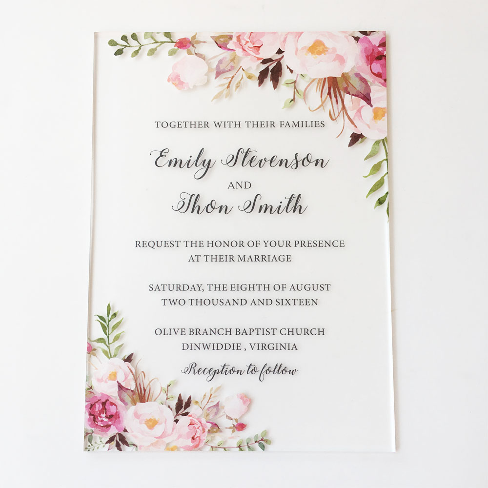 Invitation Wedding Card: Customized 25 Sets Per Lot Rustic Watercolor Style 5x7inch