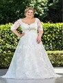Кружевными рукавами свадебное платье Большой размер 2016 новый конструктор милая высокое качество невесты платья Vestido Noiva одеяние мантия-де-mariage