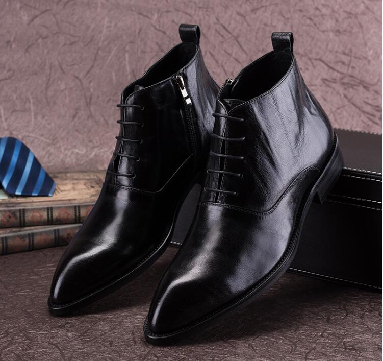 Ankle boots pointed toes dress shoes men genuine leather high top Outdoor Casual Men Winter Shoes Botas Homme martin boots самокат trolo pixel