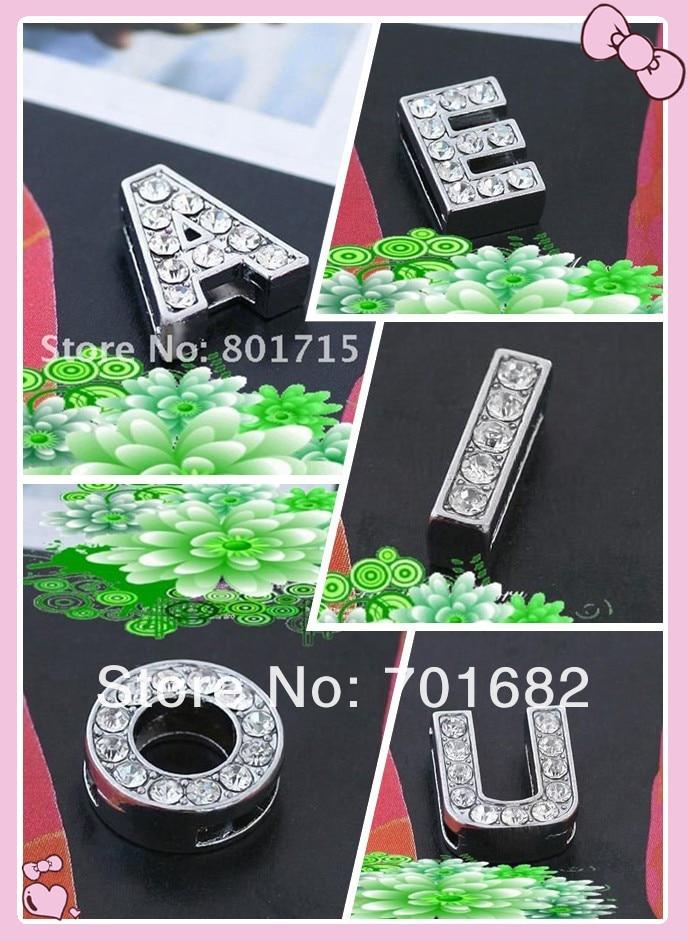 af32b7eac5976 Wholesale price list as gift 100pcs A E I O U Internal Dia10mm zinc alloy  and rhinestone Slide letter DIY accessory
