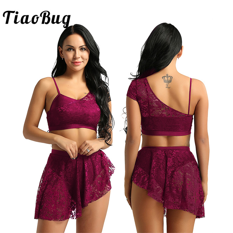 TiaoBug Women Lace Asymmetric Contemporary Lyrical Dance Costume Adult Gymnastics Crop Top Ballet Tutu Skirt Dance Set Ballerina