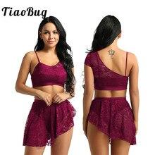 TiaoBug Women Lace Asymmetric Contemporary Lyrical Dance Costume Adult Gymnastics Crop Top Ballet Tutu Skirt Dance Set Ballerina