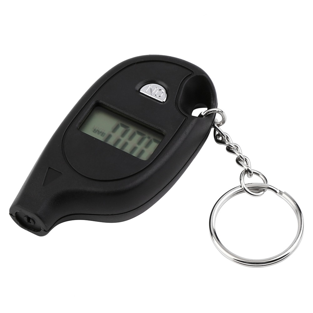 Wholesale 1pc Mini Keychain LCD Digital Car Tire Tyre Air Pressure Gauge Auto Motorcycle Test Tool(with cell lithium battery)