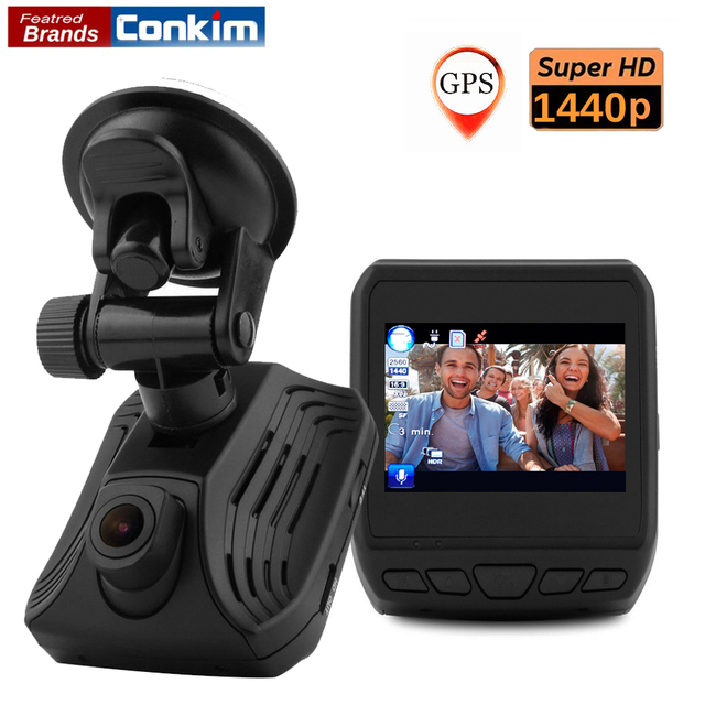 "Conkim Dash Camera Ambarella A12 1440P Super HD Car Video Recoder 2.3"" LCD Car DVR With GPS ADAS LDWS Auto Car Registrar DAB211"