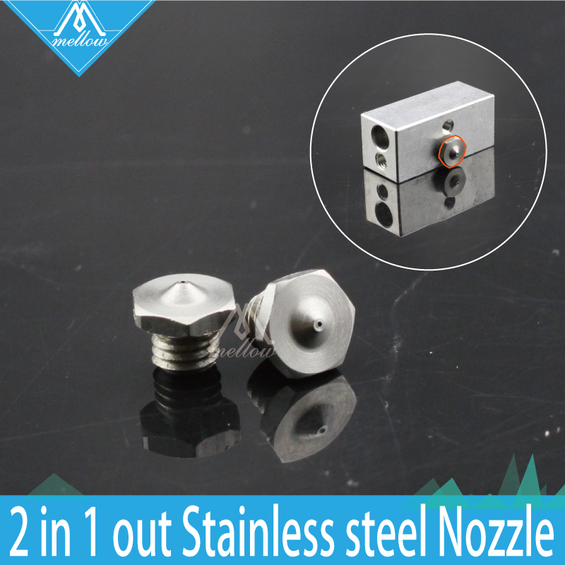 New 3D printer parts Extrusion Single Head Hot End Multi Color Extruder 2 in 1 out Cyclops HotEnd 0.4mm stainless steel Nozzle