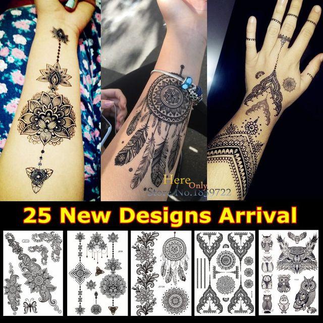 1PC Fashion Large Indian Mehndi Black Henna Temporary Tattoo Stickers Sun Flower Dreamcatcher Feather Waterproof Tattoos HBJ013A