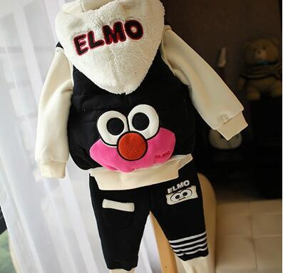 Anlencool Free Shipping Winter Baby Set New Children Ducklings Sweater Vest Fitted Three-piece Clothes Plus Thick Velvet Suit