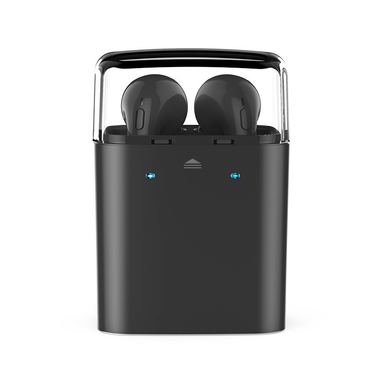 Wireless Black Bluetooth Dual In-ear Mini Earphone Stereo Earbud Noise Reduction Headphone for Dacom iphone7 Airpods Storage Box carkit mini wireless bluetooth 2 in 1 in ear earphones car phone charger usb dock stereo headphones for dacom iphone 7 airpods