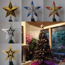 Pf 크리스마스 트리 토퍼 스타 플라스틱 크리스마스 스타 트리 토퍼 크리스마스 테이블 장식 다채로운 공예 크리스마스 diy 액세서리
