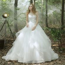 Romantic A-line Wedding Dress Sleeveless Scoop Beading Applique Tiered Vestidos De Noiva NM 660