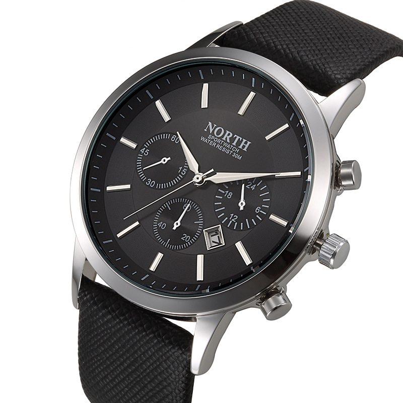 Prix pour Marque north mode noir hommes montre classique casual auto date quartz homme business casual sport horloge unique hommes de cadeau montre-bracelet