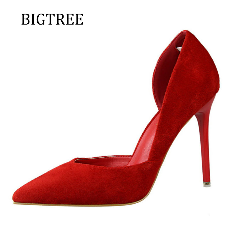 Bigtree Red Wedding High Heels Shallow Mouth Shoes Woman Flock Woman Pumps Pointed Toe Pink Sexy Women Shoes Gray Brown Size 39 burgundy gray saphire blue pink women dress party career work shoes flock shallow mouth stiletto thin high heel pumps