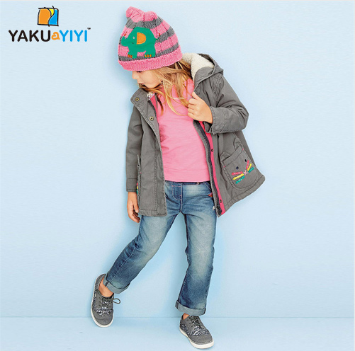 YKYY YAKUYIYI New Fashion Girls Coat Hooded Zipper Front Baby Kids Girl Jacket Double Pocket Children Outwear Girl Clothing