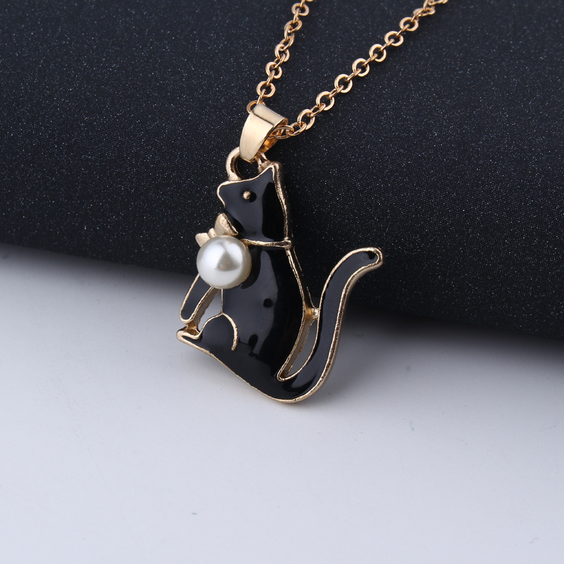 1pc Fashion Enamel Metal Imitation Pearl Cat Pendant Necklaces For Womens Chic Animal Clavicle Short Chain Choker Jewelry Gifts 7