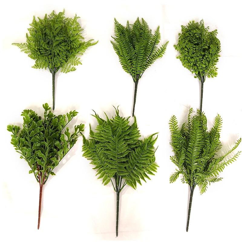 More Design Artificial Plastic Evergreen Fern Plants Silk Floral