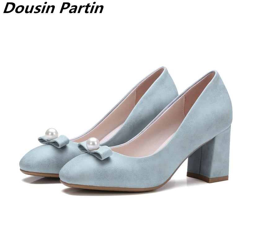 Dousin Partin Bow Tie Women Pumps Square High Heel Platform Beading Round Toe Slip On PU